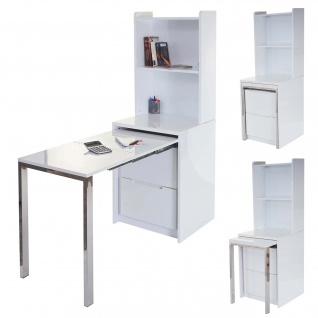 Regal HWC-D77, Computertisch Bürotisch incl. ausziehbarem Schreibtisch, hochglanz weiß 156x55x155cm