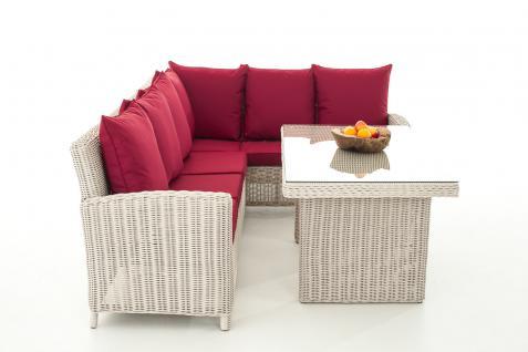 Sofa-Garnitur CP056, Lounge-Set Gartengarnitur, Poly-Rattan ~ Kissen rubinrot, perlweiß