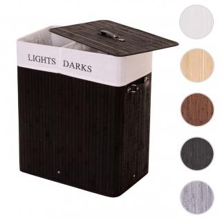Wäschekorb HWC-C21, Laundry Wäschebox Wäschesammler Wäschebehälter, Bambus 2 Fächer 63x55x34cm 100l ~ schwarz