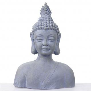 XXL Deko Figur Buddha 60cm, Polyresin Skulptur Büste, In-/Outdoor