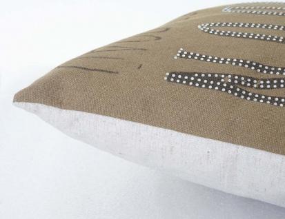 Deko-Kissen London, Sofakissen Zierkissen mit Füllung, braun Glitzersteine 45x45cm - Vorschau 4