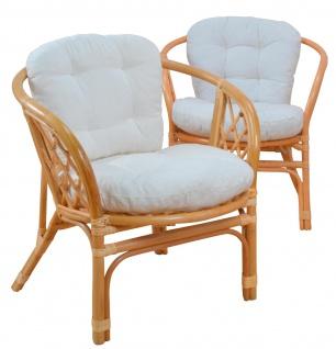 2x Rattansessel H135, Korbsessel Sessel, mit Sitzkissen, honigfarben, 82x66x68cm - Vorschau