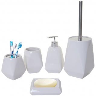 5-teiliges Badset HWC-C71, WC-Garnitur Badezimmerset Badaccessoires, Keramik ~ weiß - Vorschau 2