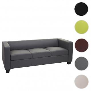 3er Sofa Couch Loungesofa Lille ~ Kunstleder, dunkelgrau