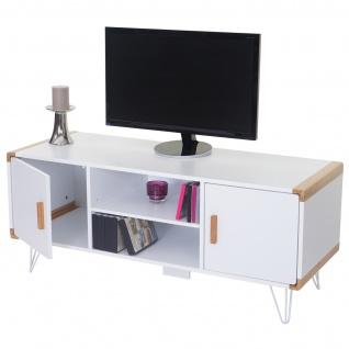 TV-Rack Toledo, Fernsehtisch Lowboard mit Bambus, weiß 120x50x45, 5cm