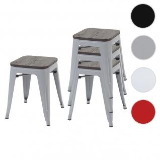 4x Hocker HWC-A73 inkl. Holz-Sitzfläche, Metallhocker Sitzhocker, Metall Industriedesign stapelbar ~ grau
