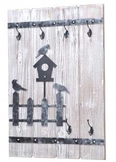 Wandgarderoben-Paneel H14, Garderobe Wandgarderobe Kleiderhaken, 90x60cm ~ weiß gewischt