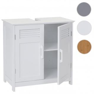 Waschbeckenunterschrank HWC-A85, Badschrank 60x60x30cm ~ weiß