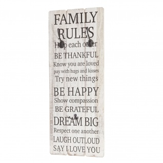 Wandgarderobe Family Rules, Shabby-Look Vintage 76x31cm