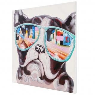 Ölgemälde Bulldogge, 100% handgemalt, 80x80cm - Vorschau 4