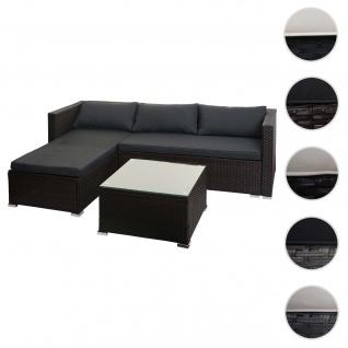 Poly-Rattan Garnitur HWC-F57, Balkon-/Garten-/Lounge-Set Sofa Sitzgruppe ~ braun, Kissen dunkelgrau mit Deko-Kissen