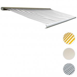 Elektrische Kassettenmarkise T122, Markise Vollkassette 4x3m ~ Polyester Grau/Weiß
