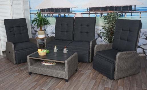 Garnitur HWC-J35, Lounge-Set Sitzgruppe Sofa, Spun Poly halbrundes Poly-Rattan ~ grau, Kissen anthrazit - Vorschau 3