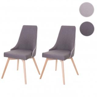 2x Esszimmerstuhl HWC-B44, Stuhl Küchenstuhl, Retro 50er Jahre Design Stoff/Textil dunkelgrau