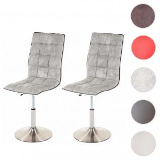 2x Esszimmerstuhl HWC-C41, Stuhl Küchenstuhl, höhenverstellbar drehbar, Fuß gebürstet, Stoff/Textil vintage hellgrau