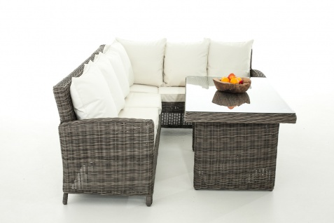 Sofa-Garnitur CP056, Lounge-Set Gartengarnitur, Poly-Rattan ~ Kissen creme, grau-meliert