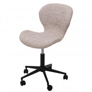 Drehstuhl HWC-B43, Arbeitshocker Schalensitz Bürostuhl, Retro-Design Textil creme