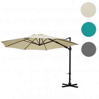 Gastronomie-Ampelschirm HWC-A39, Sonnenschirm, schwenkbar drehbar Ø 3, 5m Polyester/Alu 34kg ~ creme ohne Ständer