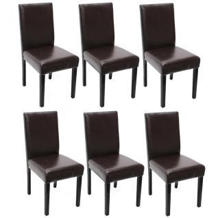 6x Esszimmerstuhl Stuhl Küchenstuhl Littau ~ Kunstleder, braun, dunkle Beine