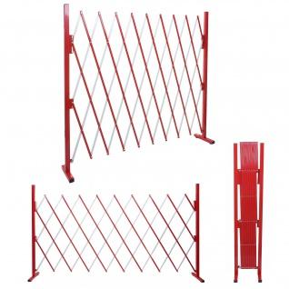 Absperrgitter HWC-B34, Scherengitter Zaun Schutzgitter ausziehbar, Alu rot-weiß ~ Höhe 153cm, Breite 32-265cm