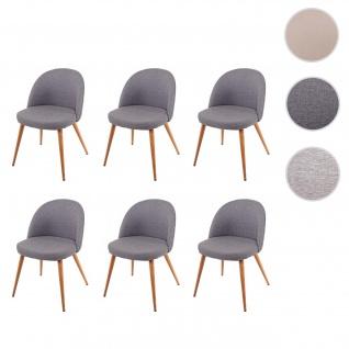 6x Esszimmerstuhl HWC-D53, Stuhl Küchenstuhl, Retro 50er Jahre Design, Stoff/Textil dunkelgrau