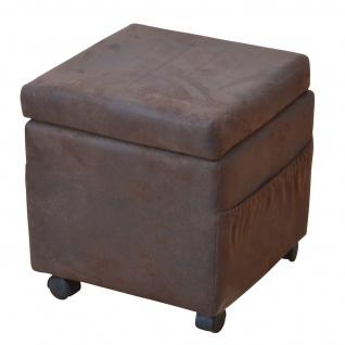 Sitzwürfel H26, Sitzhocker Hocker, auf Rollen, mit Deckel und Seitentaschen, 45x42x42cm