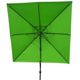 Gastronomie-Ampelschirm HWC-A39, 3x3m (Ø4, 24m) schwenkbar drehbar, Polyester/Alu 31kg ~ grün ohne Ständer - Vorschau 5
