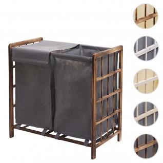 Wäschesammler HWC-B60, Laundry Wäschebox Wäschekorb, Massiv-Holz 2 Fächer 60x60x33cm 68l ~ braun, Bezug grau