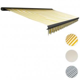 Elektrische Kassettenmarkise T122, Markise Vollkassette mit Volant 4x3m ~ Polyester Gelb/Weiß, Rahme