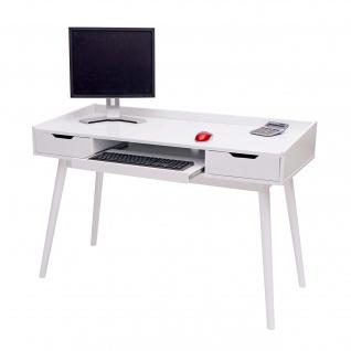 Schreibtisch HWC-A70b, Bürotisch Computertisch, MDF 120x55cm ~ weiß - Vorschau 2