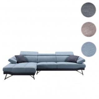 Sofa HWC-H92, Couch Ecksofa L-Form 3-Sitzer, Liegefläche ~ links, blau-grau