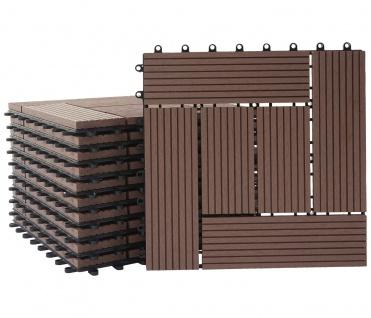 WPC Bodenfliese Rhone, Holzoptik Balkon/Terrasse, 11x je 30x30cm = 1qm ~ Premium, coffee versetzt - Vorschau 3