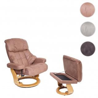MCA Relaxsessel Calgary XXL, TV-Sessel Hocker, 180kg belastbar Stoff/Textil ~ braun, Gestell naturbraun