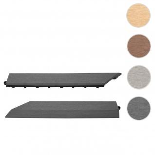 2x Abschlussleiste für WPC Bodenfliese Rhone, Abschlussprofil, Holzoptik Balkon/Terrasse ~ anthrazit links ohne Haken