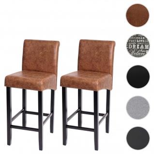 2x Barhocker HWC-C33, Barstuhl Tresenhocker, Holz ~ Wildlederimitat, dunkle Beine, Stoff/Textil