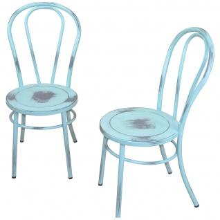 2x Esszimmerstuhl H160, Lehnstuhl Stuhl Metallstuhl, Shabby Look, Factory Design ~ blau