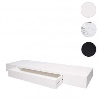 Wandregal HWC-H37, Schweberegal Wandboard Hängeregal Regal, Schublade Massiv-Holz 8x80x25cm ~ weiß