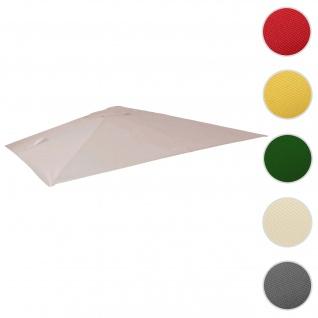 Bezug für Luxus-Ampelschirm HWC-A96, Sonnenschirmbezug Ersatzbezug, 3x3m (Ø4, 24m) Polyester 2, 7kg ~ creme-grau