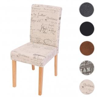 Esszimmerstuhl Littau, Küchenstuhl Stuhl, Stoff/Textil ~ Schriftzug creme, helle Beine