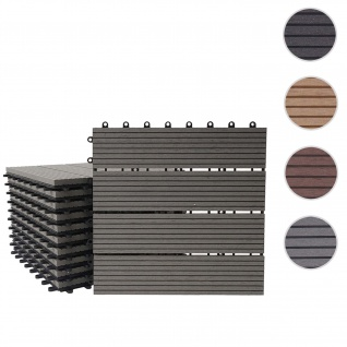 WPC Bodenfliese Rhone, Holzoptik Balkon/Terrasse, 11x je 30x30cm = 1qm ~ Premium, grau linear