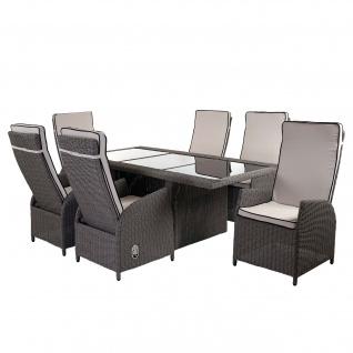 Luxus Poly-Rattan-Garnitur Badalona, Premium Lounge Set Alu-Sitzgruppe Tisch + 6 verstellbare Stühle grau