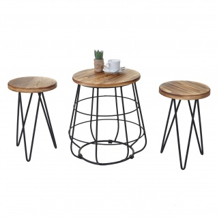 2x Sitzhocker mit Tisch HWC-A80, Sitzgruppe, Industriedesign Echtholz