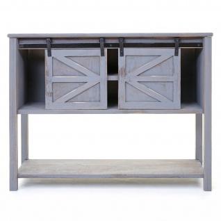 Kommode HWC-D57, Schiebetürenschrank Sideboard Schrank, Shabby-Look Vintage 81x102x34cm ~ dunkelgrau - Vorschau 4