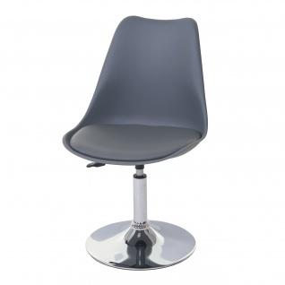Drehstuhl Malmö T501, Stuhl Küchenstuhl, höhenverstellbar, Kunstleder ~ dunkelgrau, Chromfuß - Vorschau 2