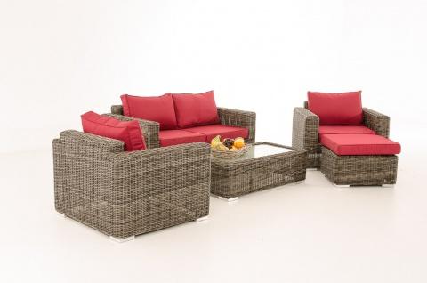 2-1-1 Gartengarnitur CP050 Sitzgruppe Lounge-Garnitur Poly-Rattan ~ Kissen rubinrot, grau-meliert