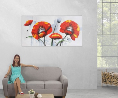 Ölgemälde Roter Mohn, 100% handgemaltes Wandbild XL, 140x70cm - Vorschau 5