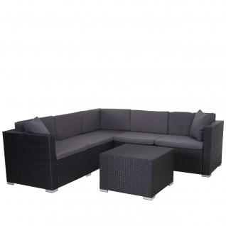 Poly-Rattan Sofa-Garnitur ROM Basic, Stahl anthrazit, Kissen anthrazit