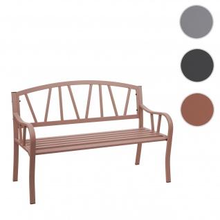 Gartenbank HWC-F53, Bank Parkbank Sitzbank, 2-Sitzer pulverbeschichteter Stahl ~ braun