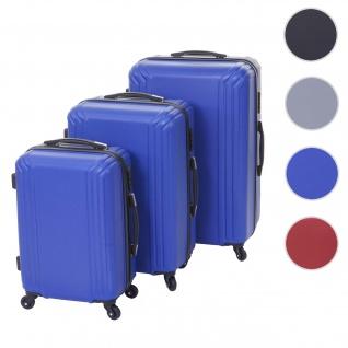 3er Set Koffer HWC-D54a, Reisekoffer Hartschalenkoffer Trolley Handgepäck, Höhe 72/60/50cm ~ blau, Standard