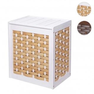 Wäschekorb HWC-G37, Wäschesammler Wäschesortierer Wäschebox, Massiv-Holz Shabby-Look Geflecht 61x51x35cm ~ weiß